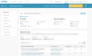 Screenshot of Moz Open Site Explorer